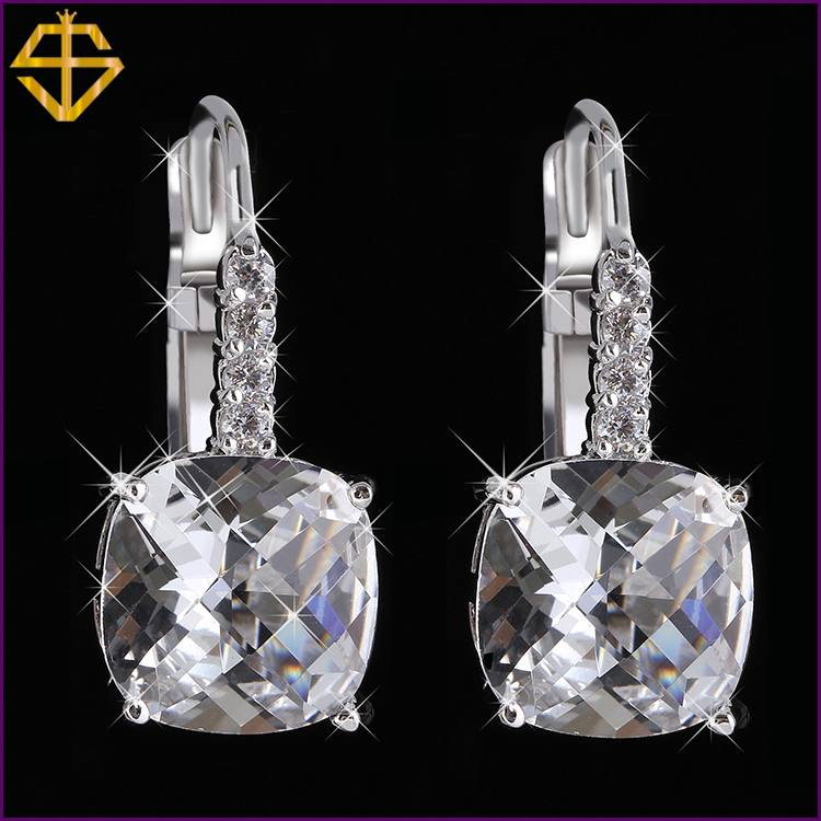 SI 2015 HOT Sale Fashion Big Classic 18K Platinum Plated Dangle Earrings For Women Brand Romantic Crystal Drop Earrings Jewelry(China (Mainland))
