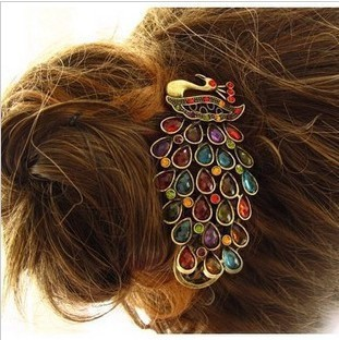 TS053 New Year Gift Colorful Vintage Hairclips Crystal Peacock Hairpin