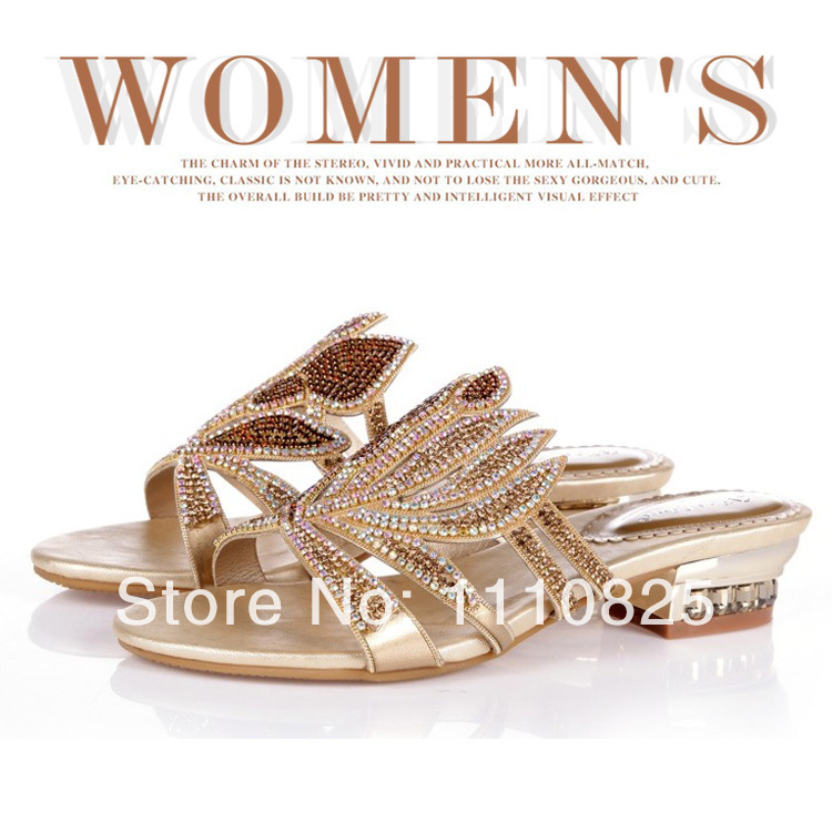 Free shipping brand summer leisure shoes, toe, leather clothing, diamond low heeled ladies sandals<br><br>Aliexpress