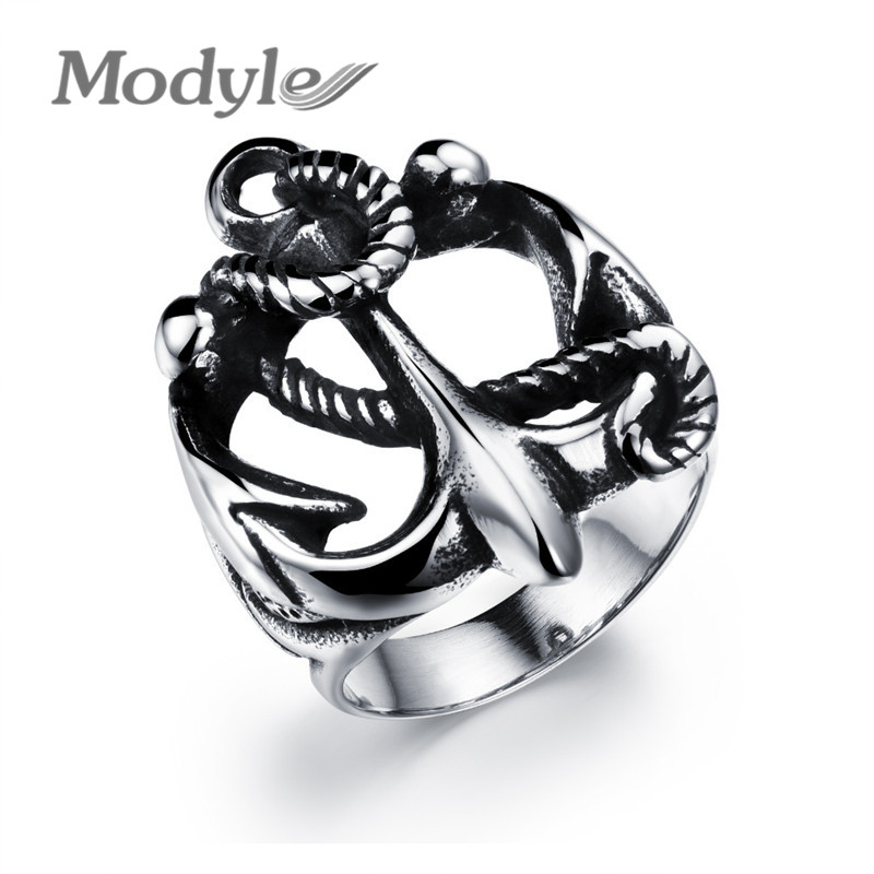 Modyle Punk Retro Anchor Ring 316L Stainless Steel Free Shipping Top Quality Anchor Iron Chains Ring(China (Mainland))