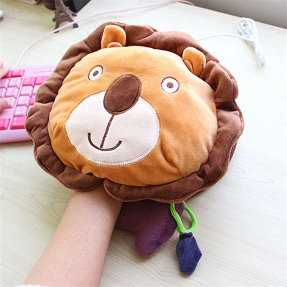 New 23 * 21cm Warm Mouse Pad USB Hand Warmer Heater Winter Laptop PC Heating Cute Lion Hot Promotion(China (Mainland))