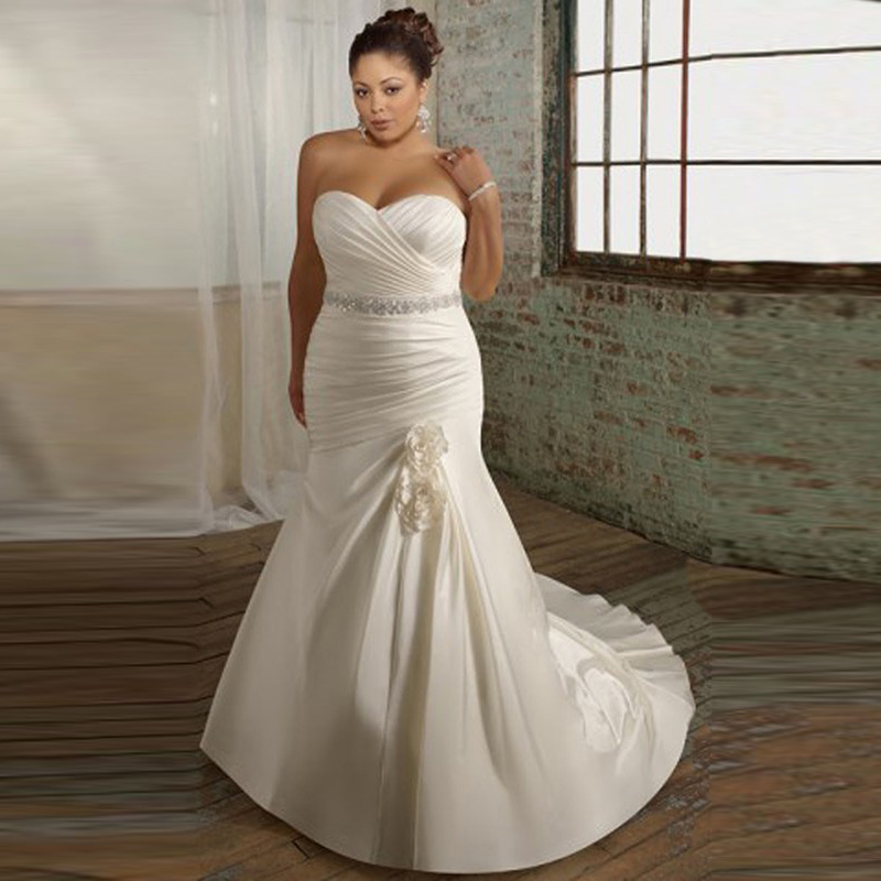 Buy elegant cheap trumpet sweetheart long for Plus size trumpet wedding dress with sleeves
