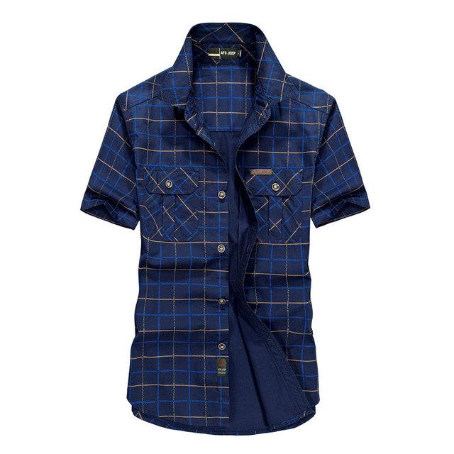 Большой размер M ~ 4XL 5 XLSummer мужская 100% хлопковые рубашки плед синий сплошной ...