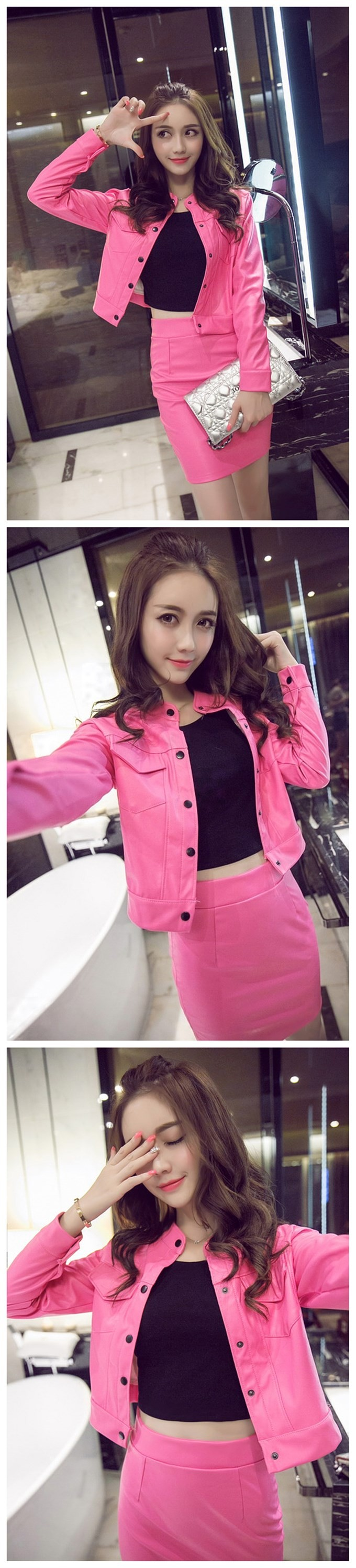 Spring Autumn 2 Piece Set Women Single-breasted PU Leather Short Jacket Top And Skirt Set RM-87