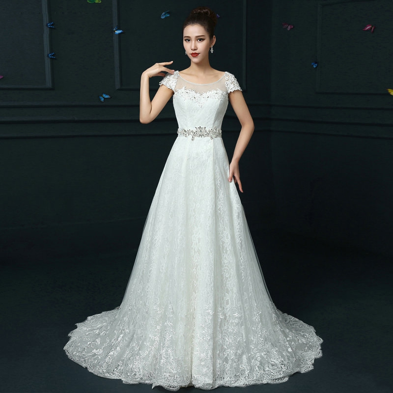 2016 bridal cap sleeve fish tail brief slim wedding dress for Long sleeve slim wedding dresses