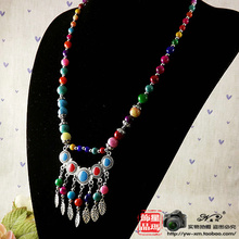 2014 new foreign trade hot female models necklace  color bead necklace Yunnan ethnic jewelry Tibetan style(China (Mainland))