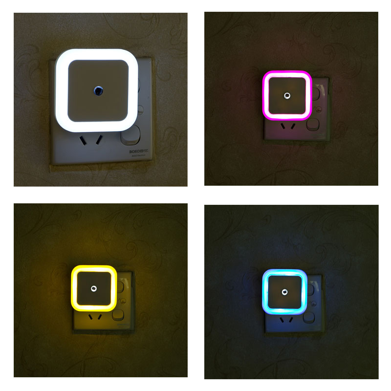 US EU AU Mini LED Night Light 0.5W 4 Colors Square LED Sensor Lamparas AC 110V 220V Veilleuse Enfant Night Light For Children(China (Mainland))