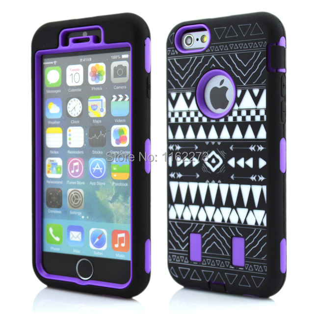 Silicone+PC Hybrid Robot Shockproof Hard Cover Case tribe National Customs case for iPhone 6 4.7 inch(China (Mainland))