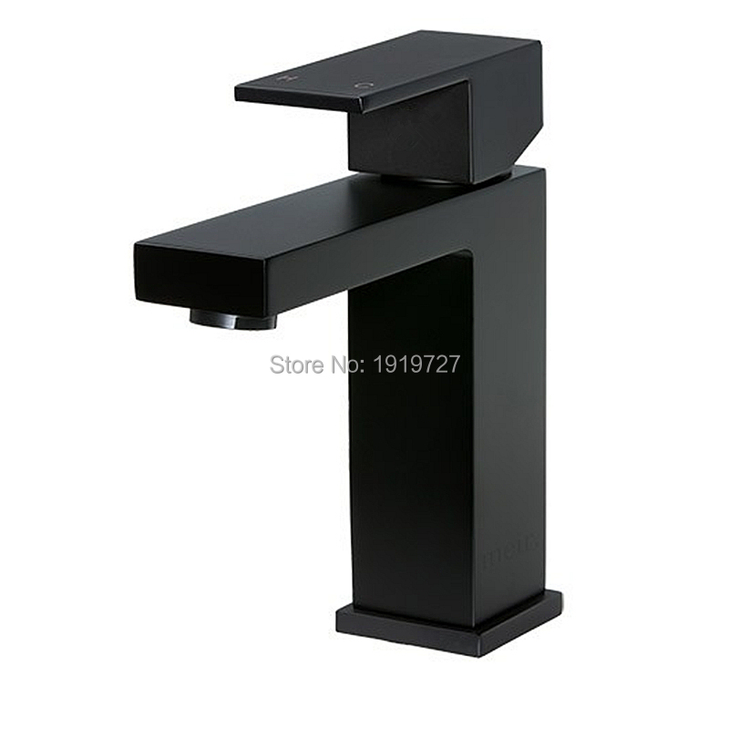 High Quality 100% Solid Brass Newest Luxury Design Deck Mount Vessel Faucet Matt Black Square Bathroom Small Basin Tap Mixer(China (Mainland))