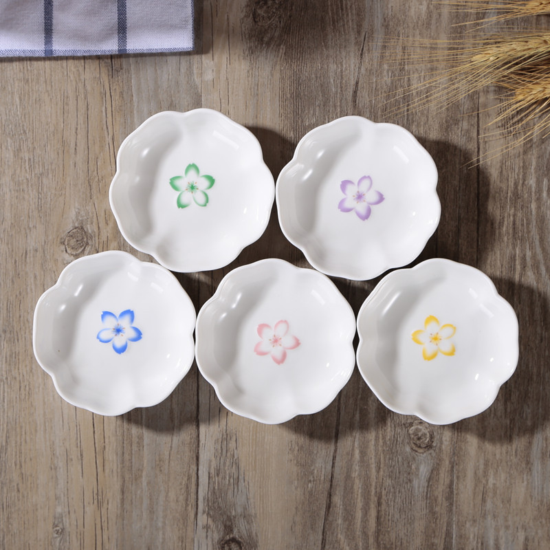Creative Sakura Pattern Jam Plate Porcelain Saucer Holder Dish Condiment Seasoning Ceramic Dinnerware Multifunction Colorful(China (Mainland))