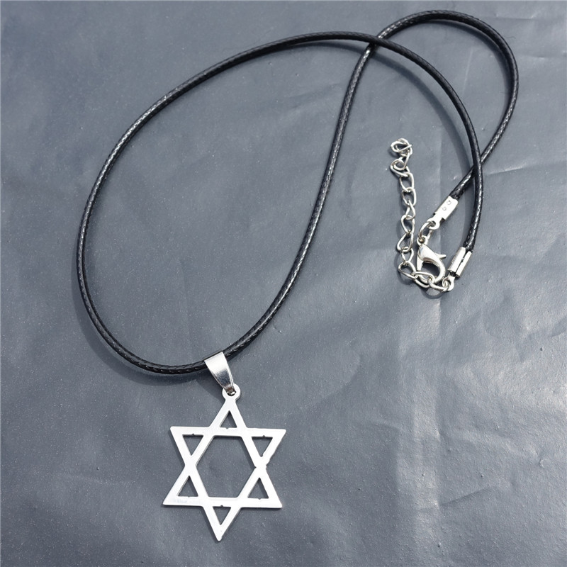 10pcs/lot Men Movie Jewelry Top Quality Stainless Steel Star of David Silver Men Hexagram Pendant Necklace With Black Rope(China (Mainland))