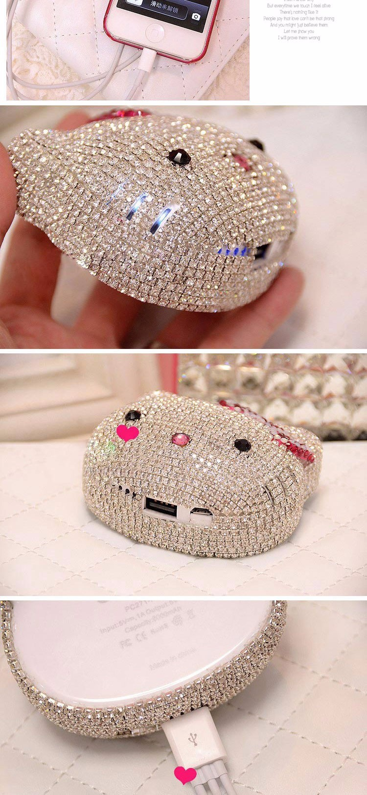 Bling Bling Pearl Diamond Hello Kitty 8000mAh Mobile Portable Power Source Bank USB Battery Charger For iphone Android Phones