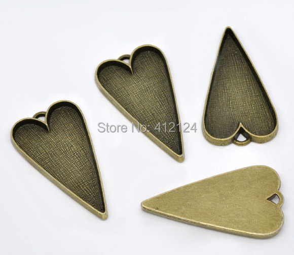 125 Free Shipping Hot New DIY Bronze Tone Heart Cameo Frame Settings Pendants Charms Jewelry Making Findings 53x30mm<br><br>Aliexpress