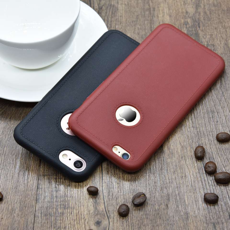 Luxury Leather Skin Case on For iPhone 7 Silicon Soft Pattern Texture Leather Cover on For iphone7 SE 5 5s 6 6s Plus Phone Cases(China (Mainland))