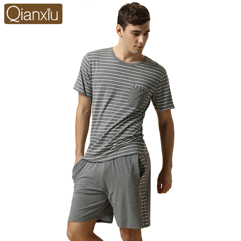 1set 2015 Brand Men Summer striped Pajama sets basic O-neck shirt & half pants Cotton Modal sleepwear Sets casual Home clothes
