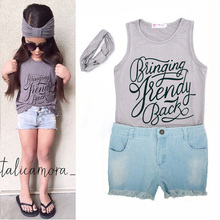 2016 Summer Girl kids Set Fashion Letters printed sleeveless T-shirt+Denim Shorts Pants+Headband 3pcs suits Girls Clothes set