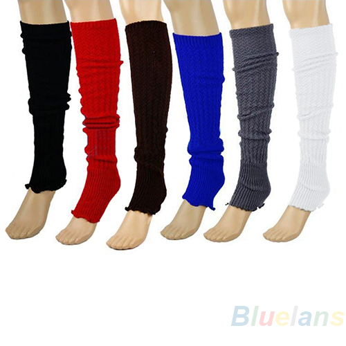2013 Winter Warm Women Plain Knitted Leg Warmers Stocking Finger less Long Gloves Neon Solid Pure