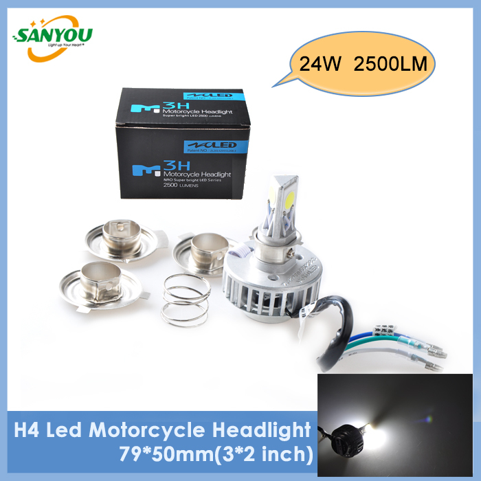 2014 New 1Pc 24W 2500LM 6000K 6~36V H4/H6/PH7/PH8 Led Bike Lamp DRL Fog Light LED Motorcycle Headlight Bulb for KTM HONDA BMW(China (Mainland))
