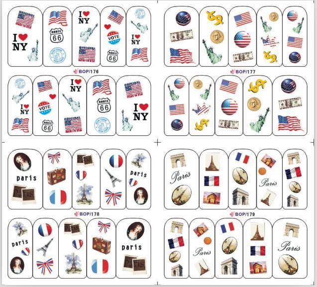 hello kitty 10pcs/lot nail sticker/3D water transfer sticker/ nail decals/ 3D nail decals/ / BOP nail sticker 4 in 1(China (Mainland))