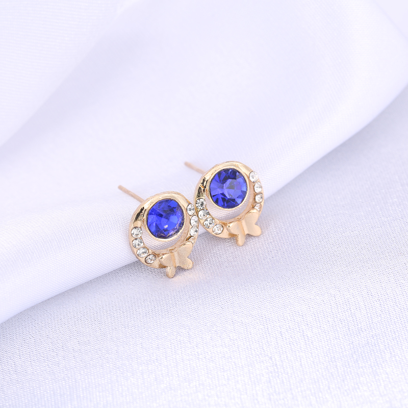 New Fashion Jewelry Factory Supplier Wholesale Round CZ Diamond Rhinestone Crystal Stud Earrings For Women e0138(China (Mainland))