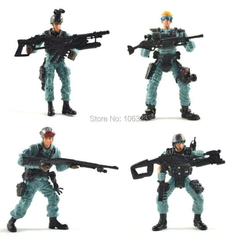 Cool Action Toy Figures, 4 pcs America Policemen, Police with Gun, USA Cop Figure, Military Solider Model Set, Boys Good Gift<br><br>Aliexpress