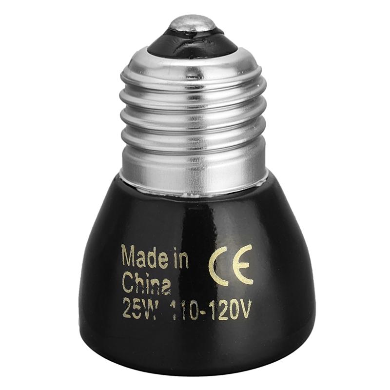 High Quality Black E27 25W 50W 75W 100W Mini Infrared Ceramic Emitter Heat Light Lamp Bulb For Reptile Pet Brooder 110V/220V(China (Mainland))