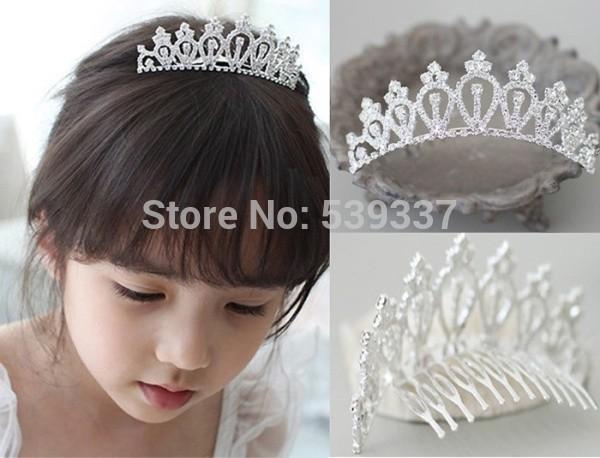 2013 Baby Kids Girls Bridal Wedding Tiara Evening Sparkling Diamante Prom Tiara Combs(China (Mainland))