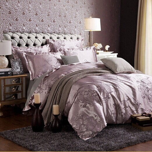 Free shipping Hot 4pcs bed sheet home textile bedding set satin jacquard bedding bed linen quilt queen king bedclothes HA017-2(China (Mainland))