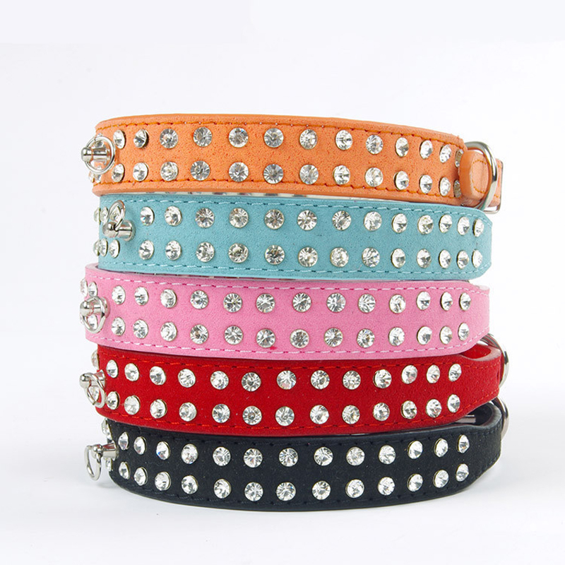 PU Leather Dog Collar Perro Led 2 Rows Rhinestone Bling Pet Collar with Buckle Crystal Puppy Cat CollarS Animal Pet Accessories(China (Mainland))