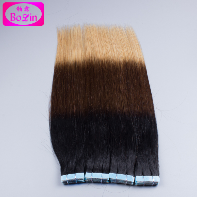 Brazilian Ombre Tape Hair Extension 1B #4/27  20PCS/50g Straight Invisible Skin Weft Hair Extensions<br><br>Aliexpress