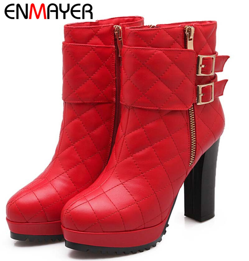 ENMAYER New Autumn Winter Boots Women Sheepskin leather boots women Buckle Sequined Black Fashion Sexy Flock Glitter high boots<br><br>Aliexpress