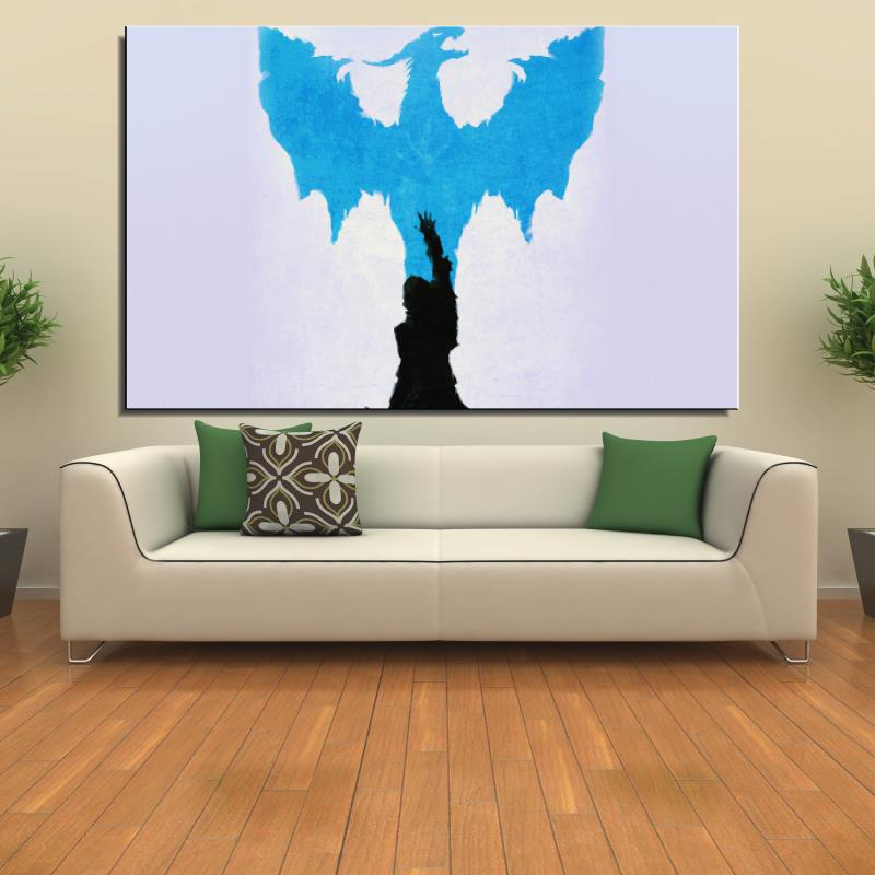 dragon age blue art illust minimal Cartoon Abstract drawing Canvas Spray Frameless Home decor Oil Painting Decoration gift(China (Mainland))
