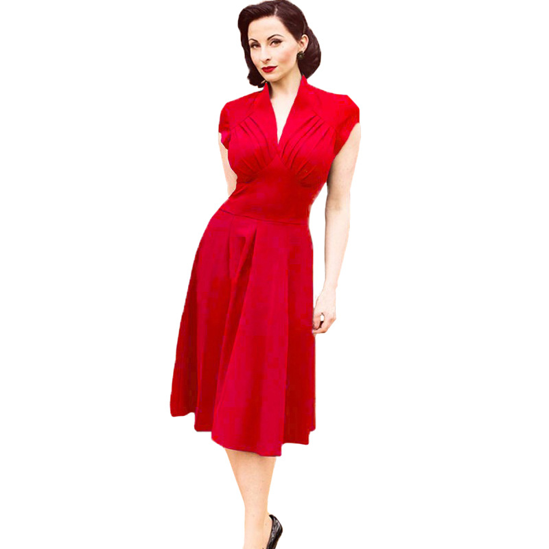 Vintage Vetement Femme : vetement femme new summer style retro vintage dress 50s swing dress sexy v neck casual elegant ~ Dallasstarsshop.com Idées de Décoration