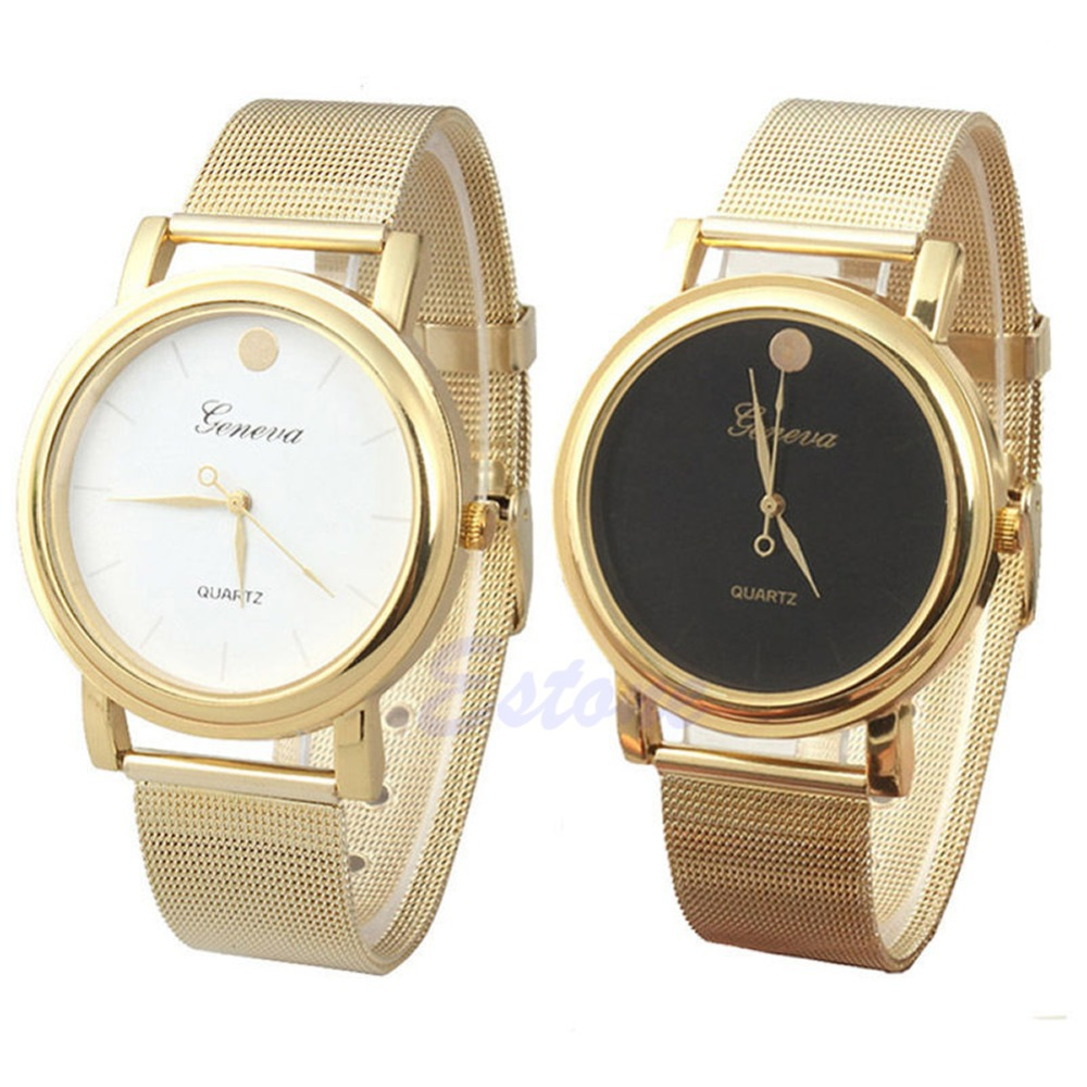 Free shipping Fashion Women Girls Classic Gold Geneva Quartz Stainless Steel Wrist Watch(China (Mainland))