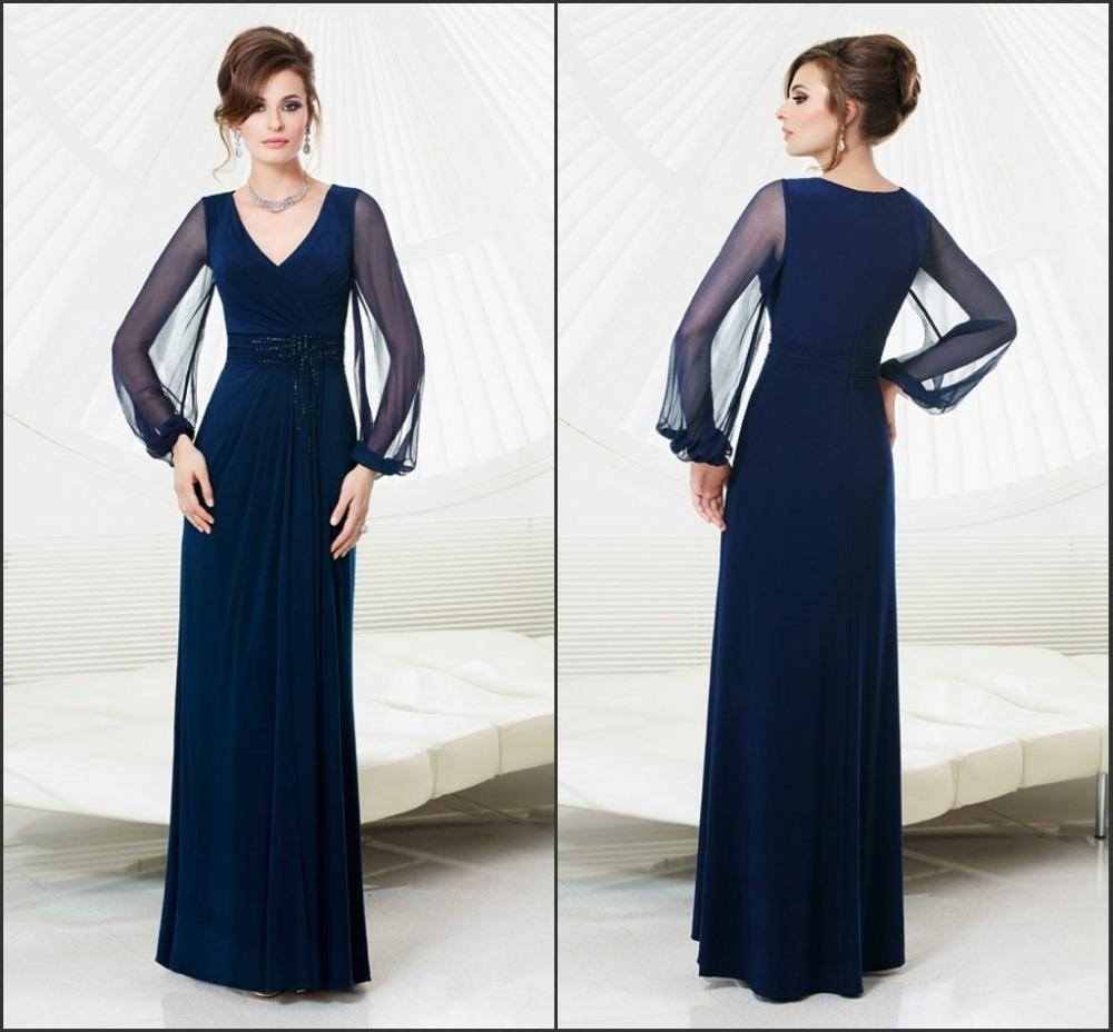 2014 fashion chiffon long-sleeved blue minimalist heart A-line floor length bridesmaid dress beach wedding party - Earl -end custom clothing store
