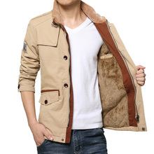 2016Men's clothing winter 100% cotton trench tooling thickening medium-long plus size outerwear male plus size plus size jacket(China (Mainland))