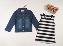 Girl's clothing set sleeveless striped slim dress + long sleeves denim jackets (China (Mainland))