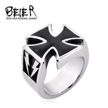 Vintage Black Lightning Iron Cross Rings For Men 2014 Fashion Jewellery Free Shipping TG000 FS