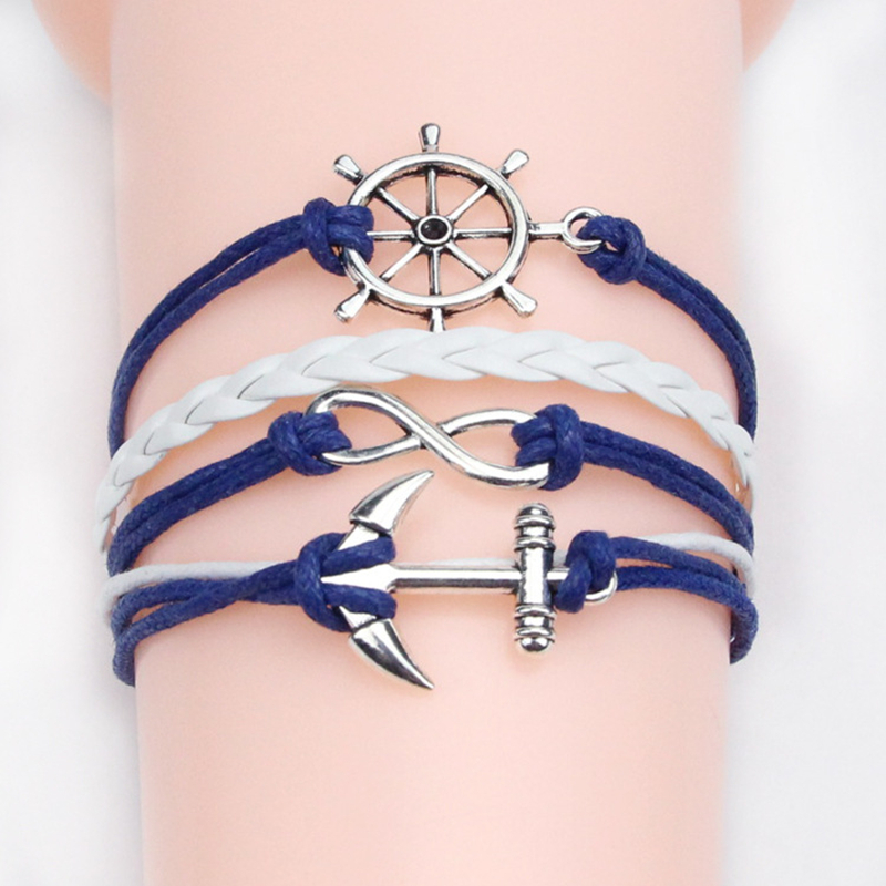Fashion Jewelry PU Leather Double Infinite Multilayer Bracelet Women Party Bracelets Anchor Bangles Factory Price Wholesales(China (Mainland))