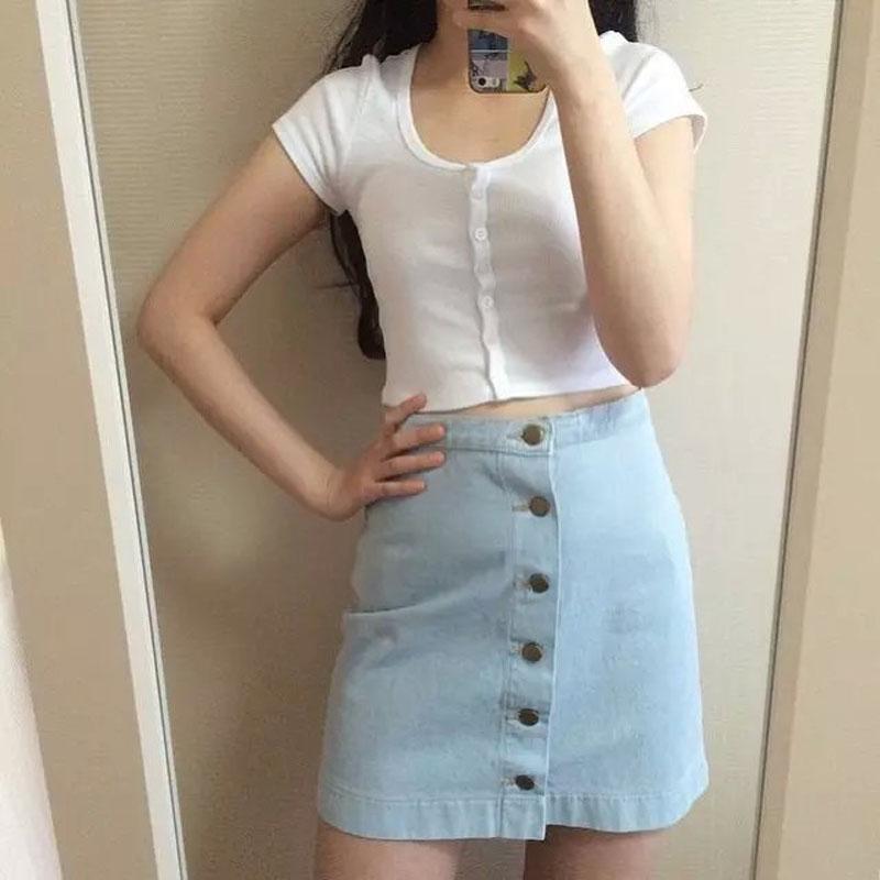 4 цветов женщины юбка 2015 мода джинсовая юбка американский одежды а . а . джинсовые кнопки высокая талия винтаж юбки-line фигурист юбка K