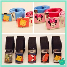 *ALLmini* 2015 New children Leather belt series cartoon pattern fashion girls and boys leather belt  lovely fabric leather belt (China (Mainland))