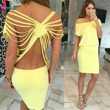 Gagaopt 2016 Sexy Summer Dress Open back Hollow Out Cross Short Sleeves Cindy Pink/Yellow Party Dresses Robe Femme Vestido(China (Mainland))