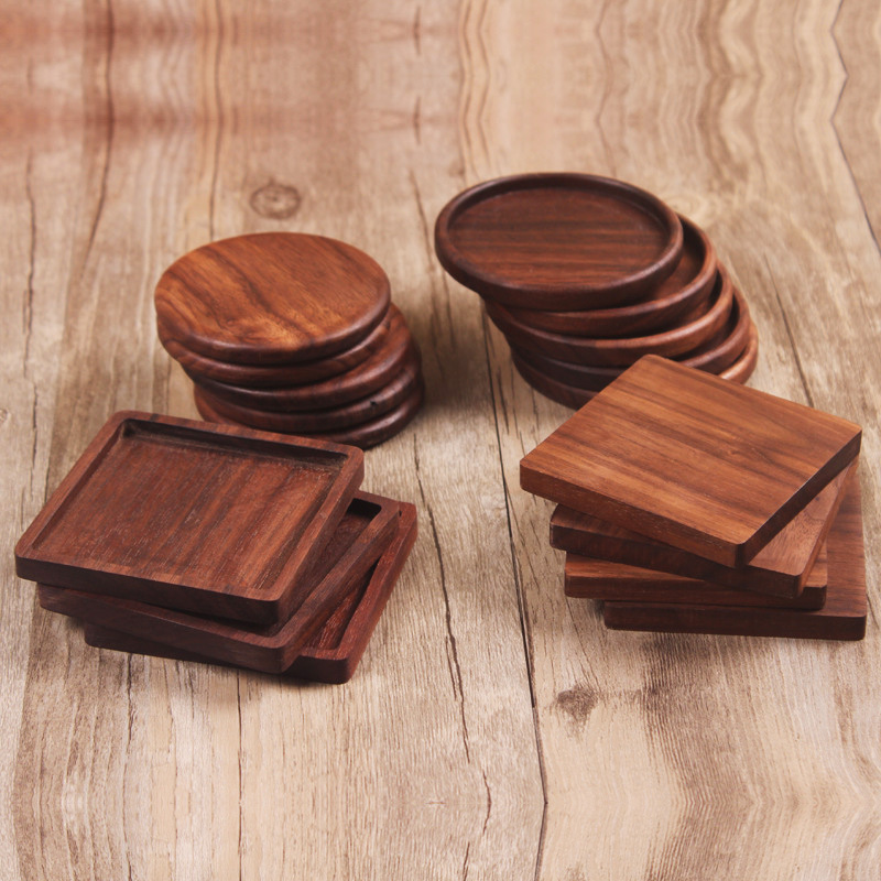 wholesale 6 pcs/lot Solid wood Coaster F001025 walnut wood Placemats Natural Style No paint No wax Boutique Luxury customizable(China (Mainland))