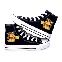 Kawaii Poke mon Pikachu go Cute Version Canvas shoes Fashion Men Sneakers High Lace-Up Casual Pedal Cartoon Anime Shoes gifts(China (Mainland))