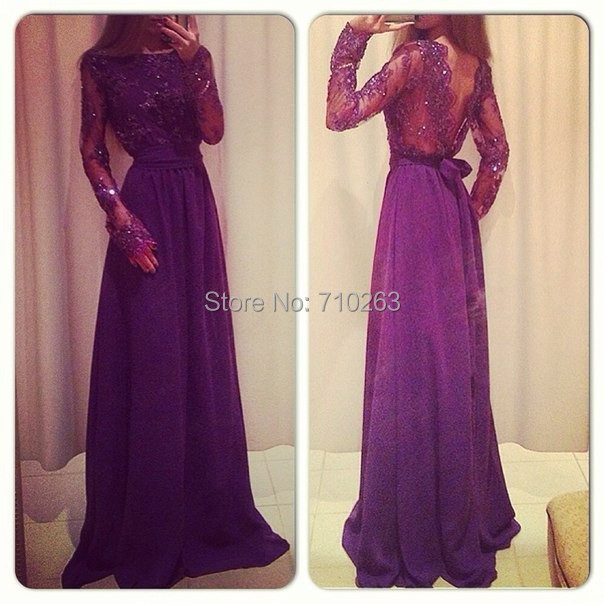 Noble Elegant Purple Prom Dresses 2014 A Line Long Sleeve Boat Neck V Shape Backless Floor Length Beaded Lace Appliques Dress(China (Mainland))