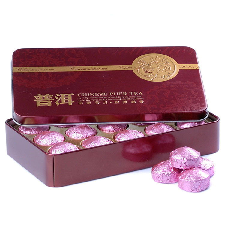 Chinese Yunnan slimming tea Tin can box gift packing lotus leaf Pu erh puer pu erh