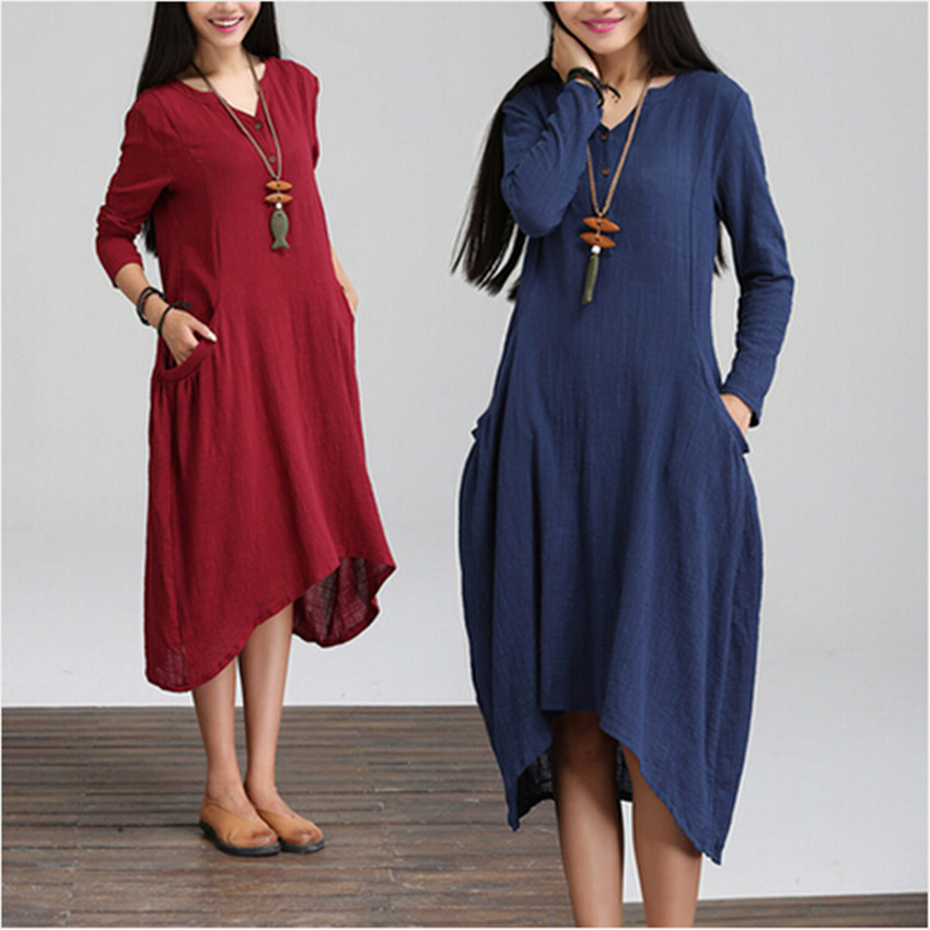 2015 robes femmes casual loose irregular solid color blue red dress v neck mid calf autumn. Black Bedroom Furniture Sets. Home Design Ideas