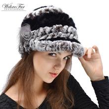 New Hot Winter Hat For Women Genuine Rex Rabbit Fur Hat With Fox Fur Flower 2015 Women Fur Cap Good Quality Fur Casquette(China (Mainland))