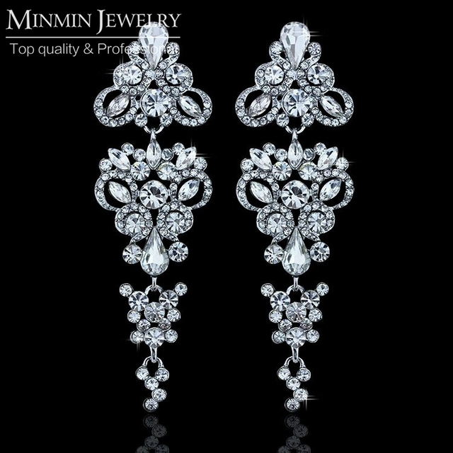 Великолепный люстра форма кристаллов белый позолоченные длинные серьги свадебные украшения серьги для женщин EH198
