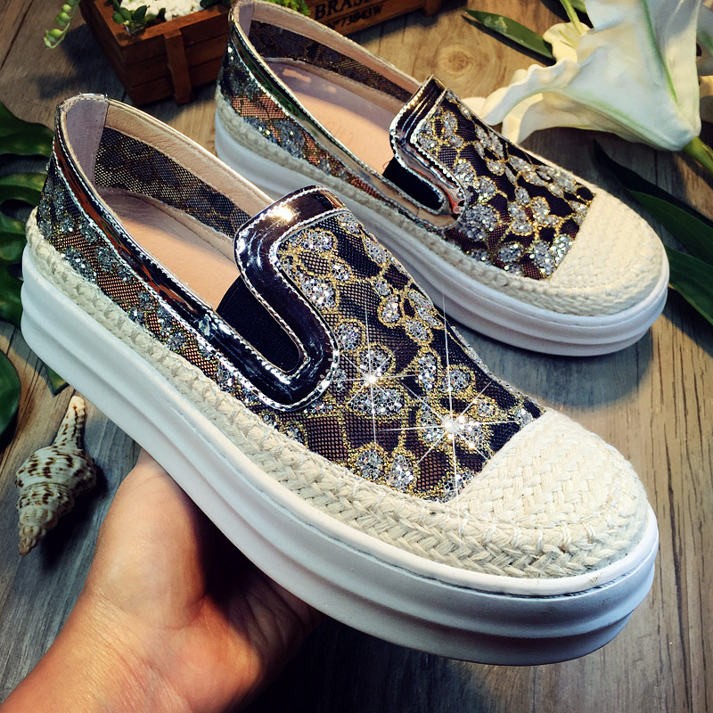 Breathable Yarn net Sequins Decoration Women Flats Brand Shoes Woman Boat Shoes 2016 Genuine Leather Shoes Casual Platform Shoes(China (Mainland))